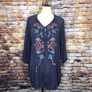 Johnny Was Boho Flower Embroidered Tunic Blouse